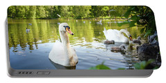 Swans With Chicks Portable Battery Charger