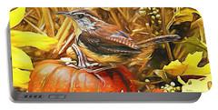 Sweet Carolina Wren Portable Battery Charger by Tina  LeCour