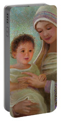 Portable Battery Charger featuring the painting Sweet Grace Madonna And Child by Nancy Lee Moran