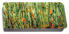 Portable Battery Charger featuring the painting Sweet Jammin' Peas by Holly Carmichael