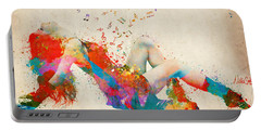 Portable Battery Charger featuring the digital art Sweet Jenny Bursting With Music Cropped by Nikki Marie Smith