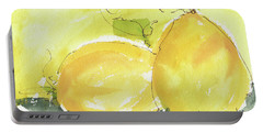 Sweet Lemon Watercolor Painting By Kmcelwaine Portable Battery Charger by Kathleen McElwaine