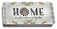 Sweet Life Farmhouse 5 Home Windmill Cotton Boll Laurel Leaf Buffalo Check Plaid Portable Battery Charger