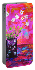 Sweet Little Flower Vase Portable Battery Charger by Haleh Mahbod