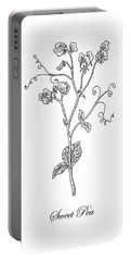 Sweet Pea Flower Botanical Drawing  Portable Battery Charger