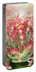 Sweet Peas In Sweet Pea Vase 2 Portable Battery Charger by Carol Cavalaris