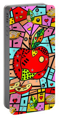 Sweet Popart Apple By Nico Bielow Portable Battery Charger by Nico Bielow