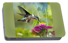 Sweet Success Hummingbird Square Portable Battery Charger by Christina Rollo