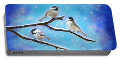 Portable Battery Charger featuring the painting Sweetest Winter Birdies by Leslie Allen