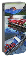 Swiftcurrent Lake And Canoes_pastel Version Portable Battery Charger