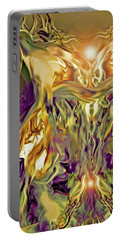 Portable Battery Charger featuring the digital art Swimming Horses by Linda Sannuti