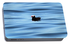 Swimming Puffin In Blue Water Portable Battery Charger by Dan Sproul