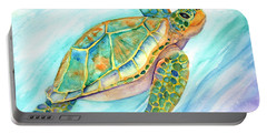 Swimming, Smiling Sea Turtle Portable Battery Charger