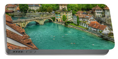 Portable Battery Charger featuring the photograph Swimming The River Aare , Bern  by Connie Handscomb