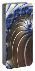 Portable Battery Charger featuring the digital art Swirly Blue Fractal Art by Bonnie Bruno