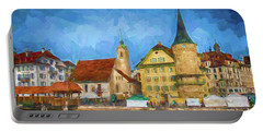 Swiss Town Portable Battery Charger by Pravine Chester