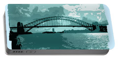 Sydney Harbour Fantasy In Blue Portable Battery Charger