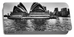 Sydney Opera House-black And White Portable Battery Charger by Douglas Barnard