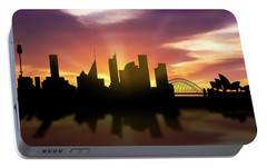 Sydney Skyline Sunset Ausy22 Portable Battery Charger by Aged Pixel