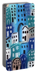 Synagogue- City Stories Portable Battery Charger by Linda Woods