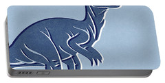 T-rex In Blue Portable Battery Charger by Linda Woods
