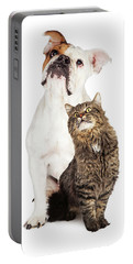 Tabby Cat And Bulldog Together Looking Up Portable Battery Charger