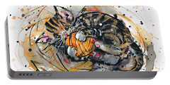 Portable Battery Charger featuring the painting Tabby Kitten Playing With Yarn Clew  by Zaira Dzhaubaeva