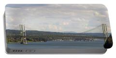 Tacoma Narrows Bridge Panorama Portable Battery Charger