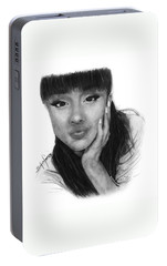 Ariana Grande Drawing By Sofia Furniel Portable Battery Charger by Sofia Furniel