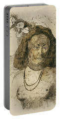 Tahitian Woman With Evil Spirit Portable Battery Charger