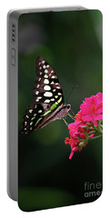 Tailed Jay Butterfly -graphium Agamemnon- On Pink Flower Portable Battery Charger