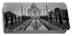 Taj Mahal In Black And White Portable Battery Charger by Jacqi Elmslie
