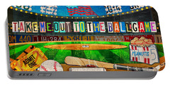 Take Me Out To The Ballgame Recycled Vintage License Plate Art Collage Portable Battery Charger