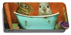 Tale Of Two Bunnies Portable Battery Charger by Leah Saulnier The Painting Maniac