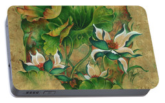 Portable Battery Charger featuring the painting Talks About The Essence Of Life by Anna Ewa Miarczynska