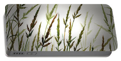 Portable Battery Charger featuring the digital art Tall Grass And Sunlight by James Williamson