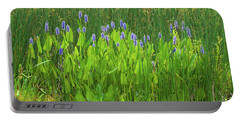 Tall Purple And Blue Blooming Flowers Portable Battery Charger