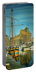Tall Ship In Saint Malo Portable Battery Charger
