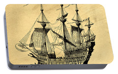 Portable Battery Charger featuring the drawing Tall Ship Vintage by Edward Fielding
