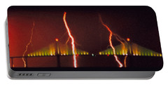 Tampa Bay Lightning Over The Skyway Bridge Portable Battery Charger