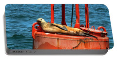 Portable Battery Charger featuring the photograph Tanning Sea Lion On Buoy by Mariola Bitner