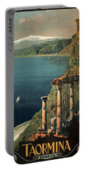 Taormina, Italia - Italy - Retro Travel Poster - Vintage Poster Portable Battery Charger
