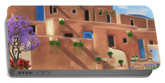 Taos Pueblo With Flowers Portable Battery Charger by Walter Colvin