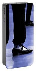 Tap Dance In Blue Are Shoes Tapping In A Dance Academy Portable Battery Charger by Pedro Cardona