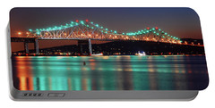 Tappan Zee Refelctions Portable Battery Charger by James Kirkikis