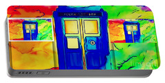 Portable Battery Charger featuring the digital art Tardis Three by Justin Moore