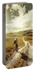 Tasmanian Man On Road In Nature Reserve Portable Battery Charger