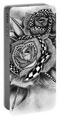 Tattoo Rose Greyscale Portable Battery Charger