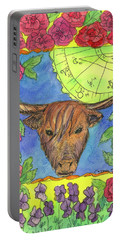Portable Battery Charger featuring the painting Taurus by Cathie Richardson