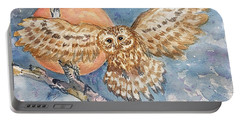 Tawny Owl And Hunters Moon  Portable Battery Charger